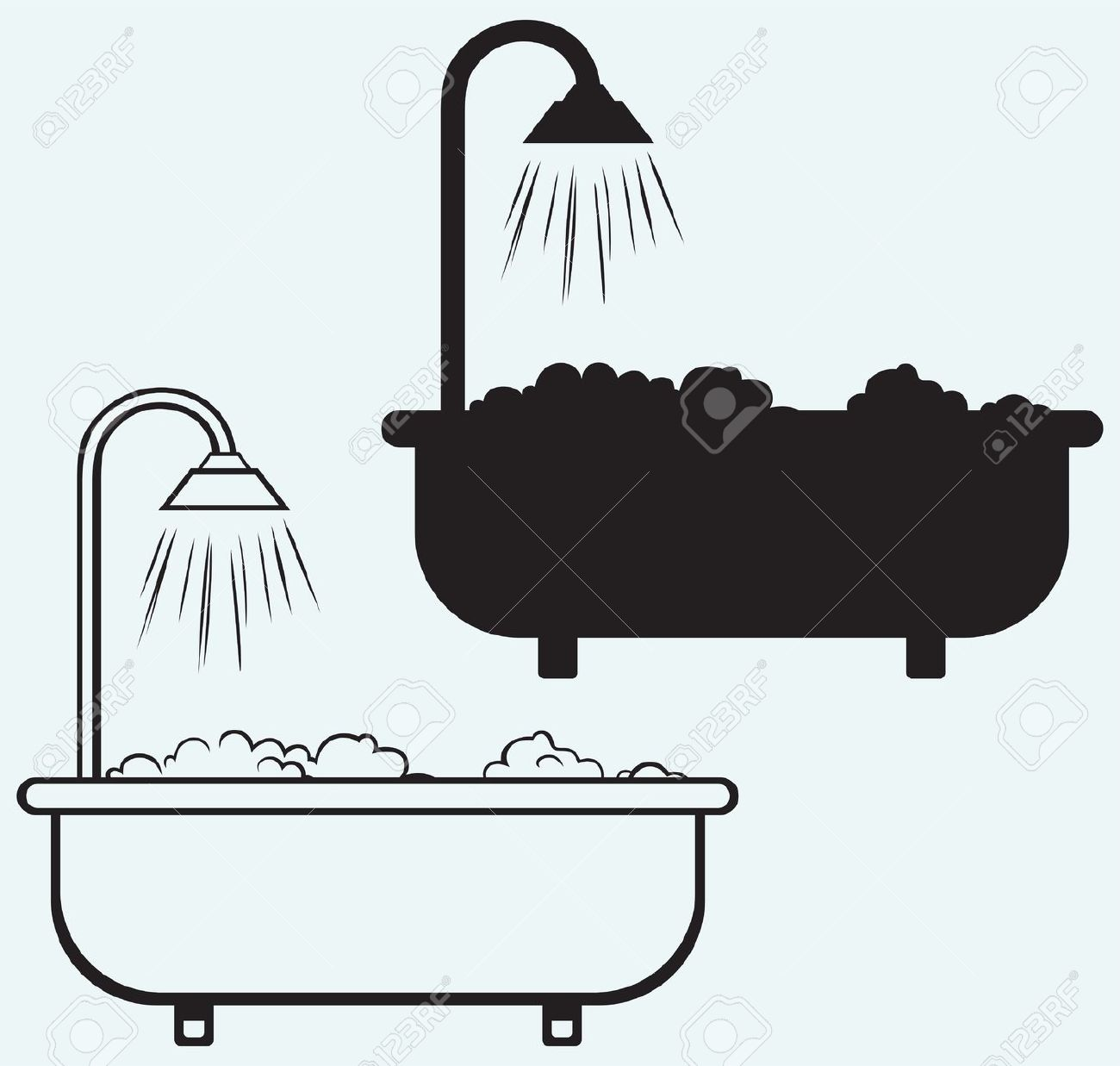 Foam clipground with isolated. Bath clipart illustration