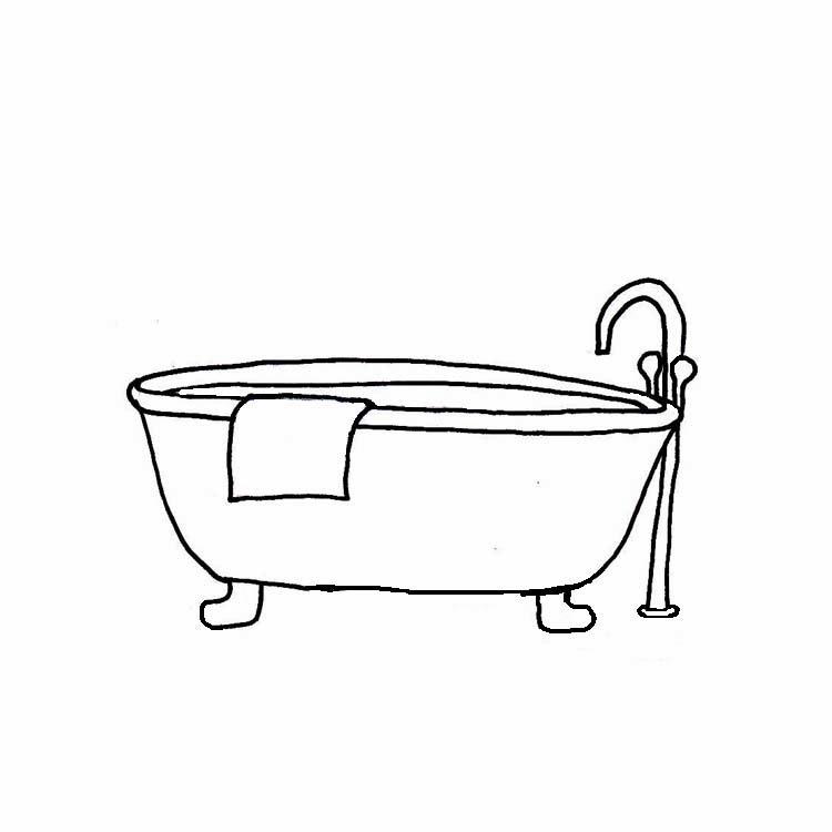 Bath clipart outline. Free bathtub black and