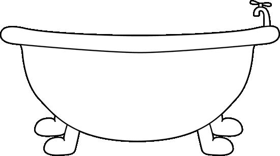 Bath clipart outline. Black and white bathtub