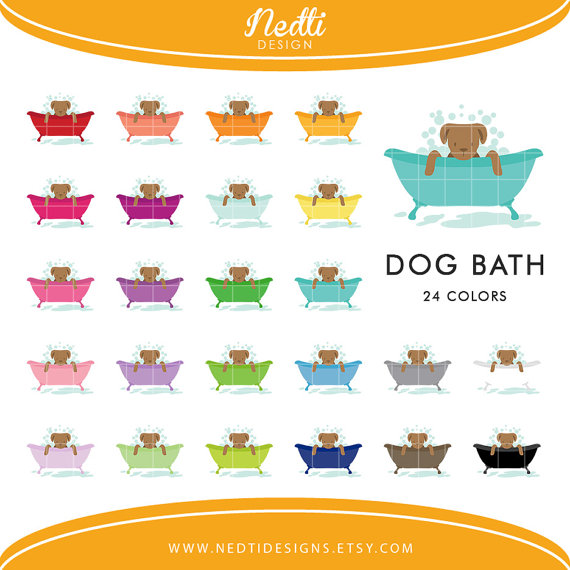 dog tub set. Bath clipart puppy