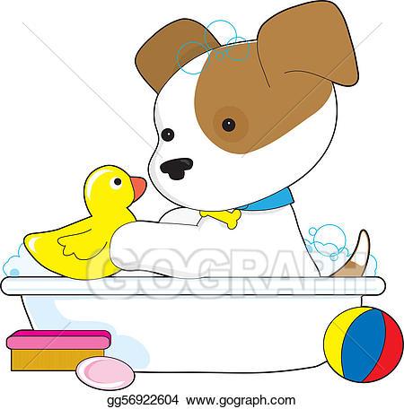 Bath clipart puppy. Stock illustration cute gg