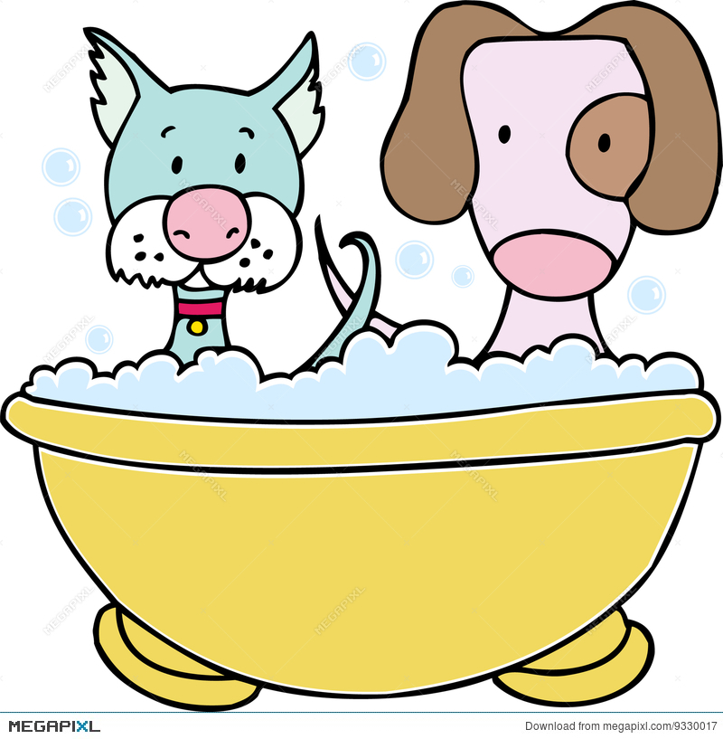 Bath clipart puppy. Dog and cat illustration