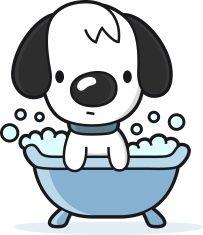 Cartoon dog takes a. Bath clipart puppy