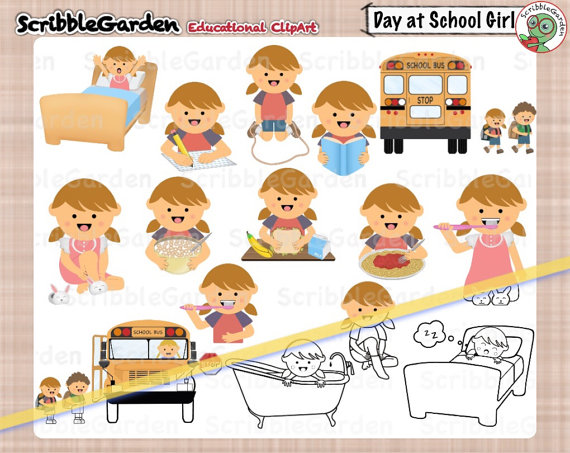 Bath clipart sequence. School day girl version