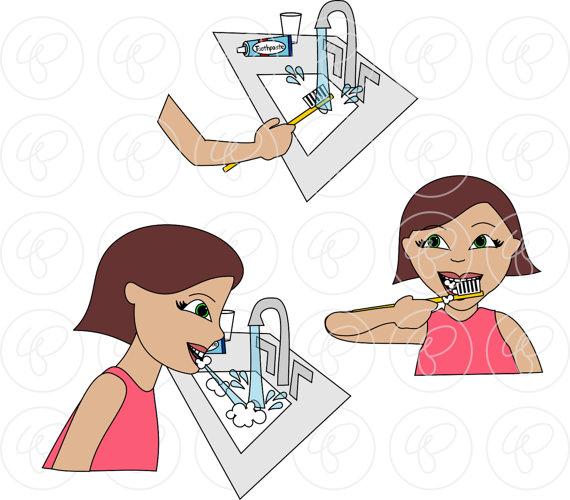Sequences brushing teeth set. Bath clipart sequence