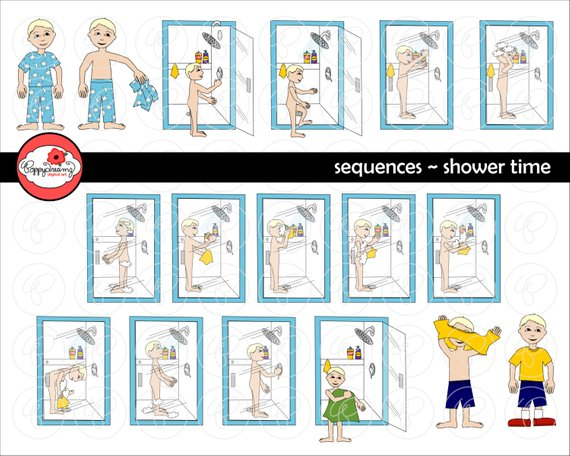 Sequences shower time set. Bath clipart sequence
