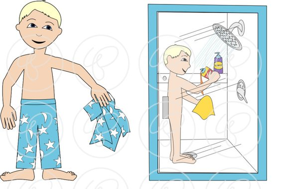 Bath clipart sequence. Sequences shower time set