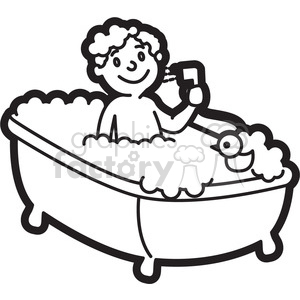 30+ Take A Shower Cartoon Black And White PNG