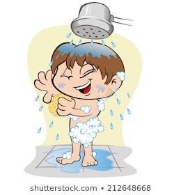 Boy taking a portal. Bath clipart take