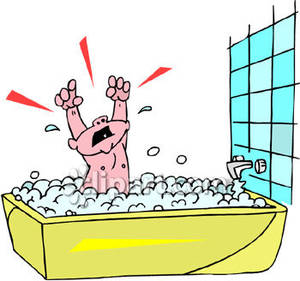 Child taking a bubble. Bathtub clipart warm bath