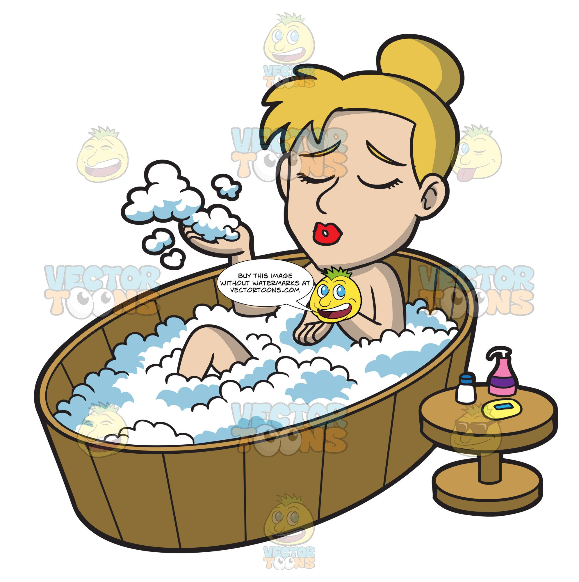 A woman enjoying bubble. Bath clipart warm bath