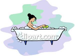 Bath clipart woman. Lady in bathtub