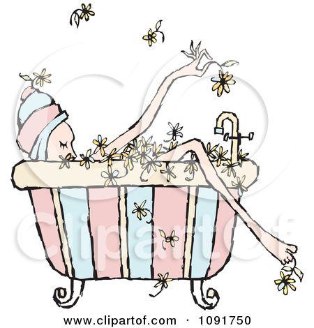 Bath clipart woman. Floral bubble shower pinterest