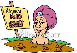 Having a mud royalty. Bath clipart woman