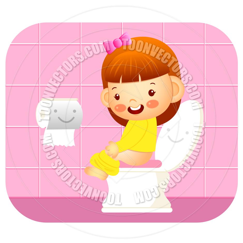 Bath clipart woman. Girl on potty cartoon