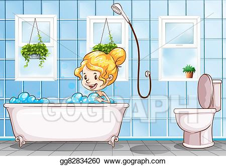 Bath clipart illustration. Vector art girl taking