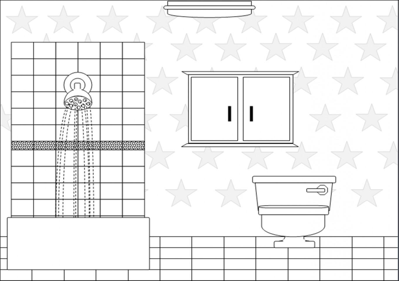 School bathroom black and. Bath clipart outline