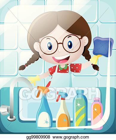 Clean clipart clean bathroom. Vector art girl cleaning