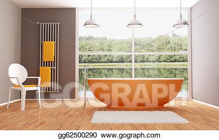 Stock illustration brown and. Bathroom clipart modern bathroom