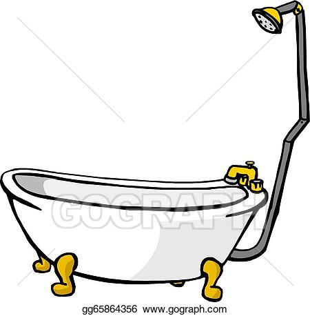 Vector art illustration of. Bathtub clipart