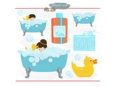 Bathtub clipart bathroom item. Blue and brown towel