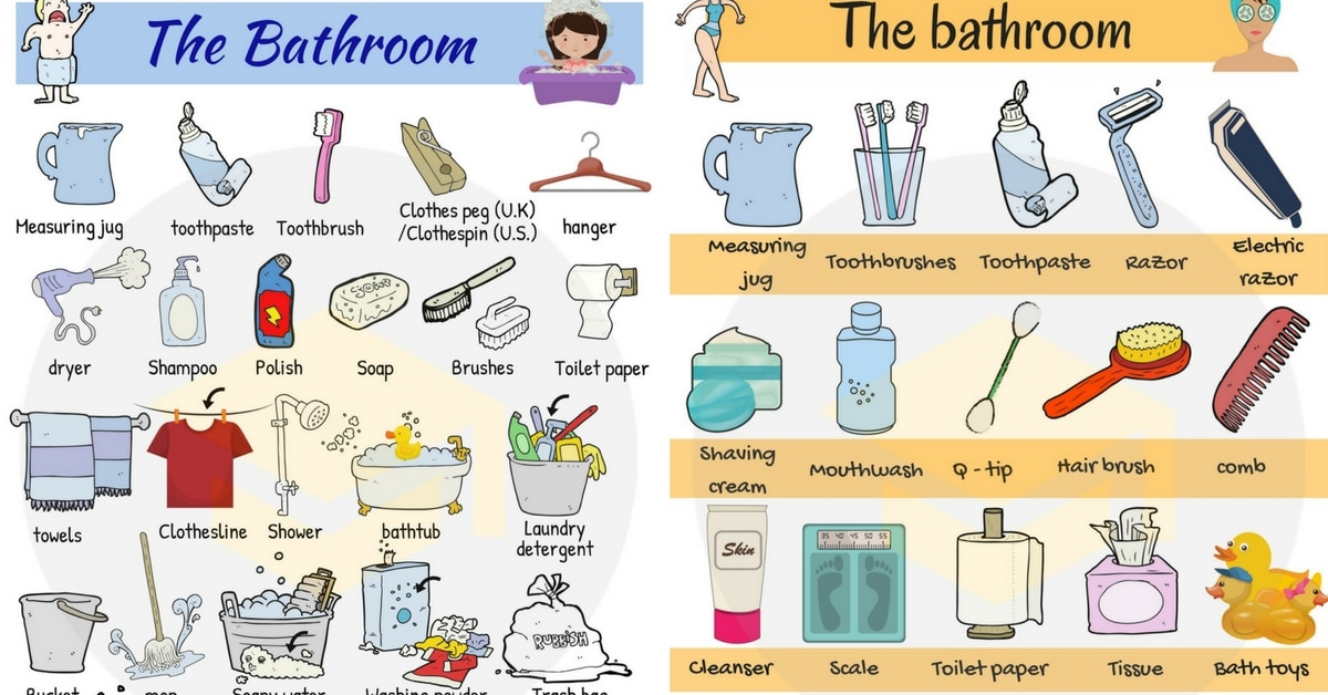 Bathtub clipart bathroom item. Vocabulary in english the