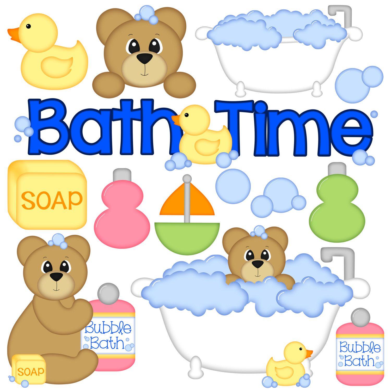 Bath time digital set. Bathtub clipart bathroom item