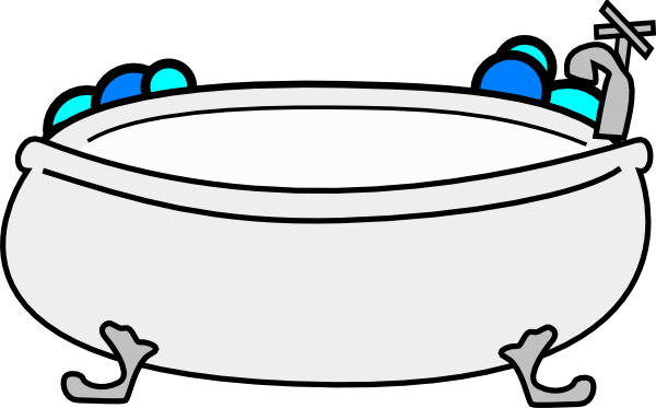 Bathtub with bubbles clip. Tub clipart