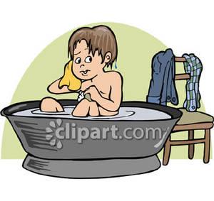 Boy having a royalty. Bathtub clipart cold bath