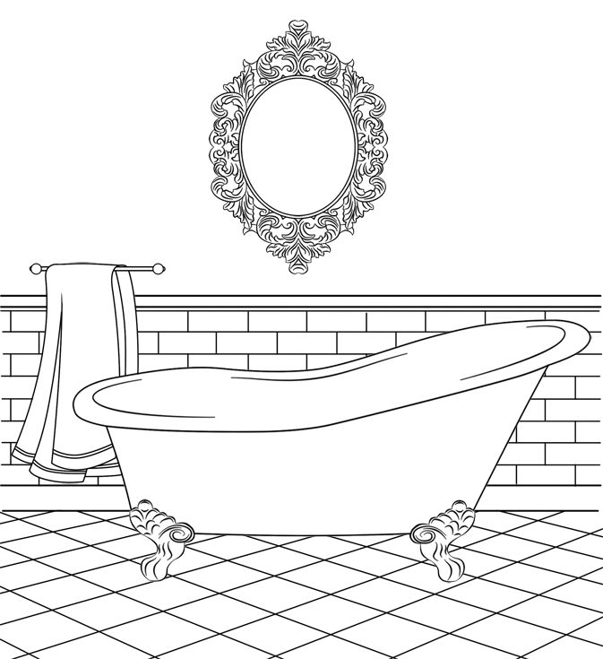 Bathtub Clipart Coloring Page
