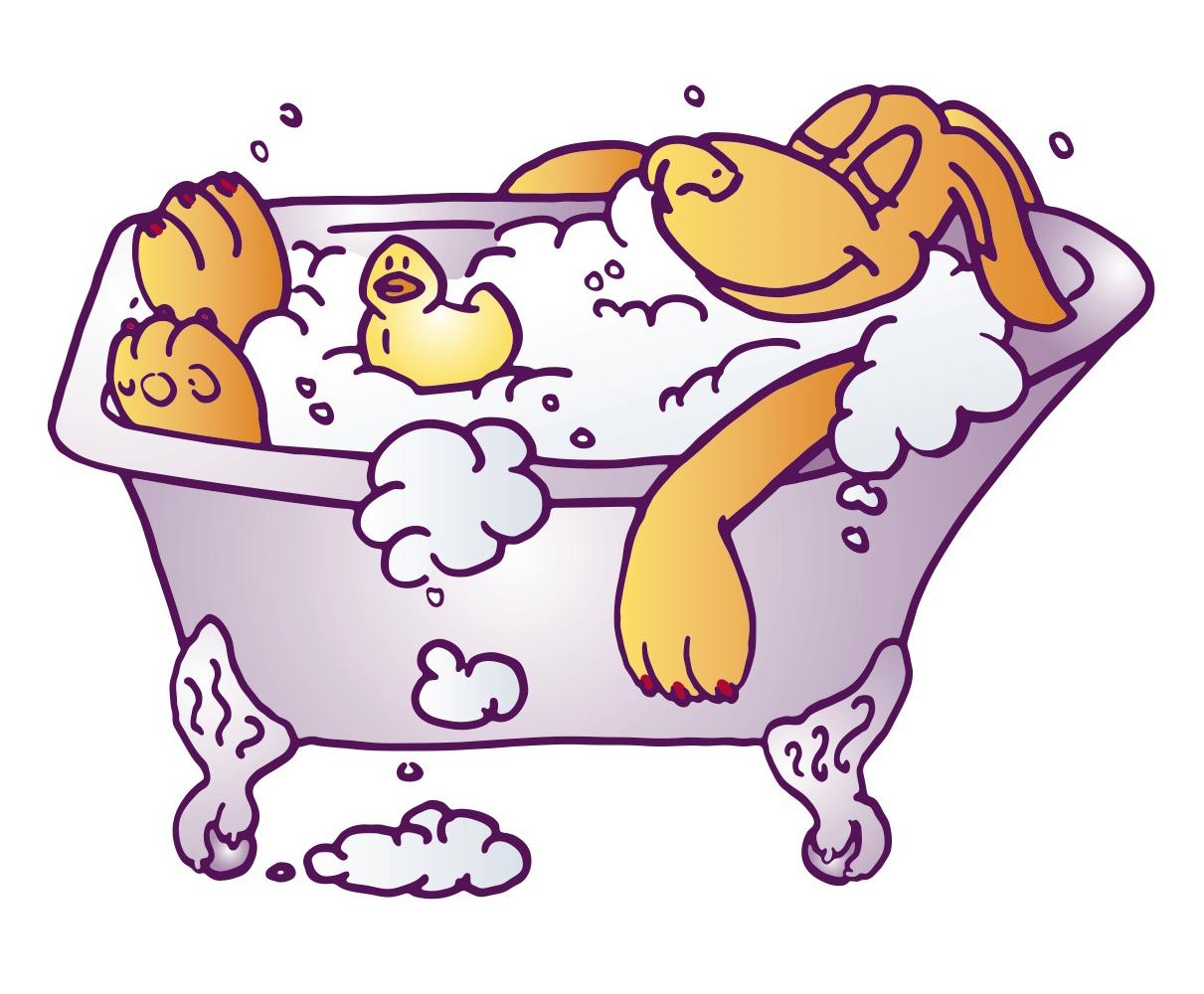 Bath clipart dog bath. In bathtub