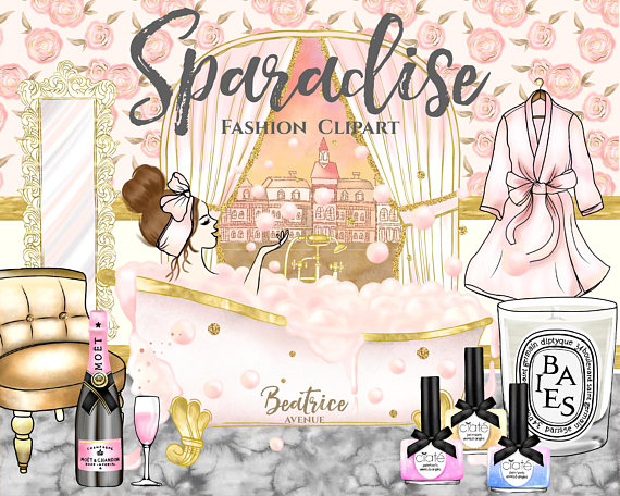 Sparadise watercolor planner girl. Beauty clipart spa
