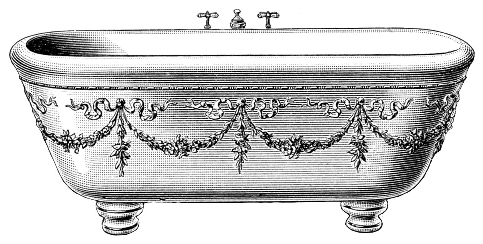 Tub clipart vintage. Bathtub victorian pencil and