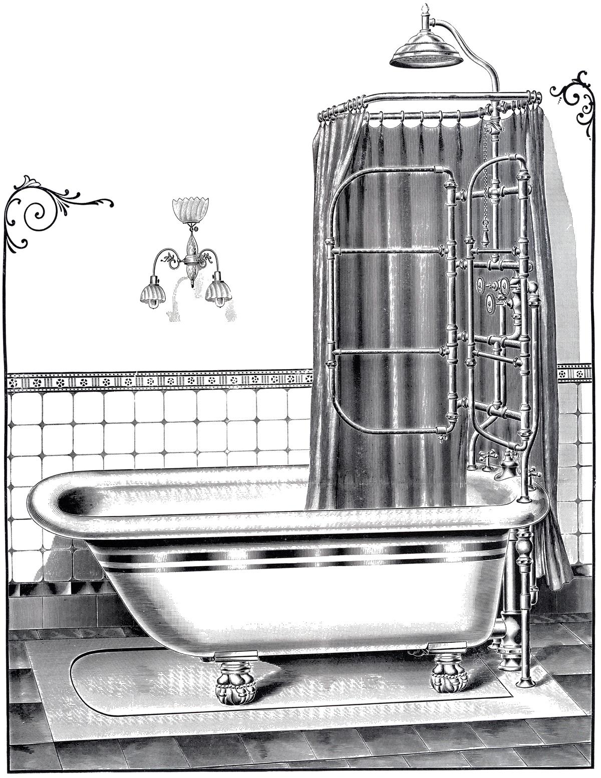 Bath clipart old fashioned. Vintage bathtub printable the