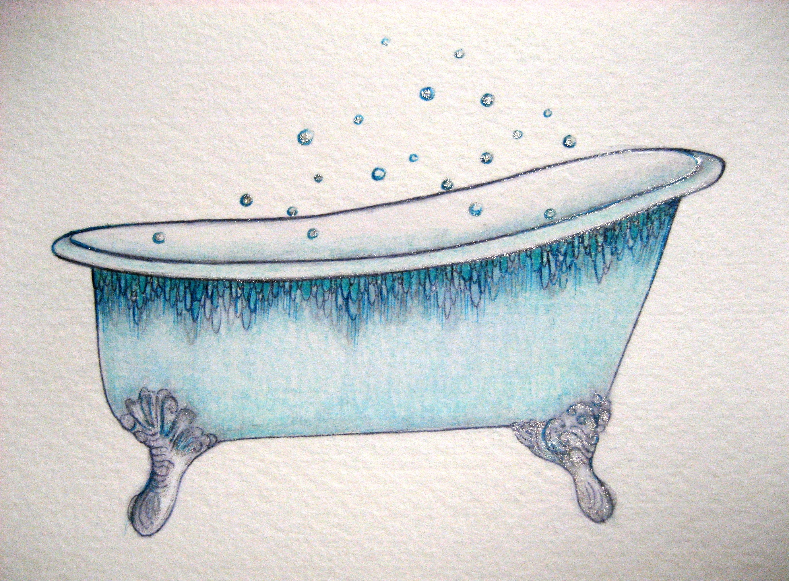 Bathtub suggest deep soaking. Tub clipart vintage