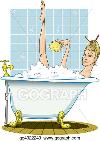 Bathtub clipart warm bath. Drawing blonde taking a