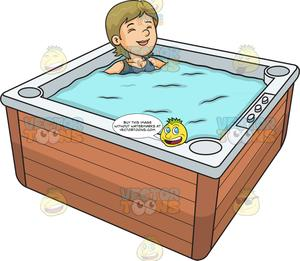 A woman relaxing in. Bathtub clipart warm bath
