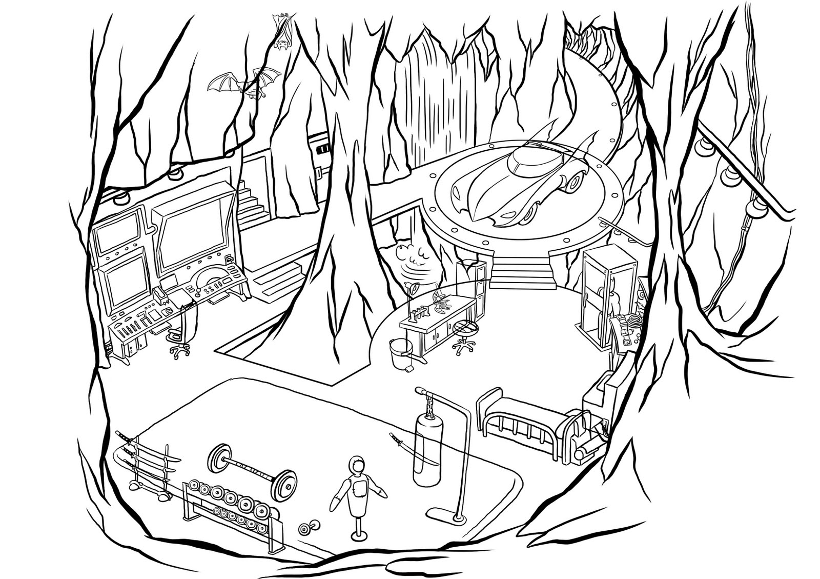 Final lines scoot sketches. Cave clipart bat cave