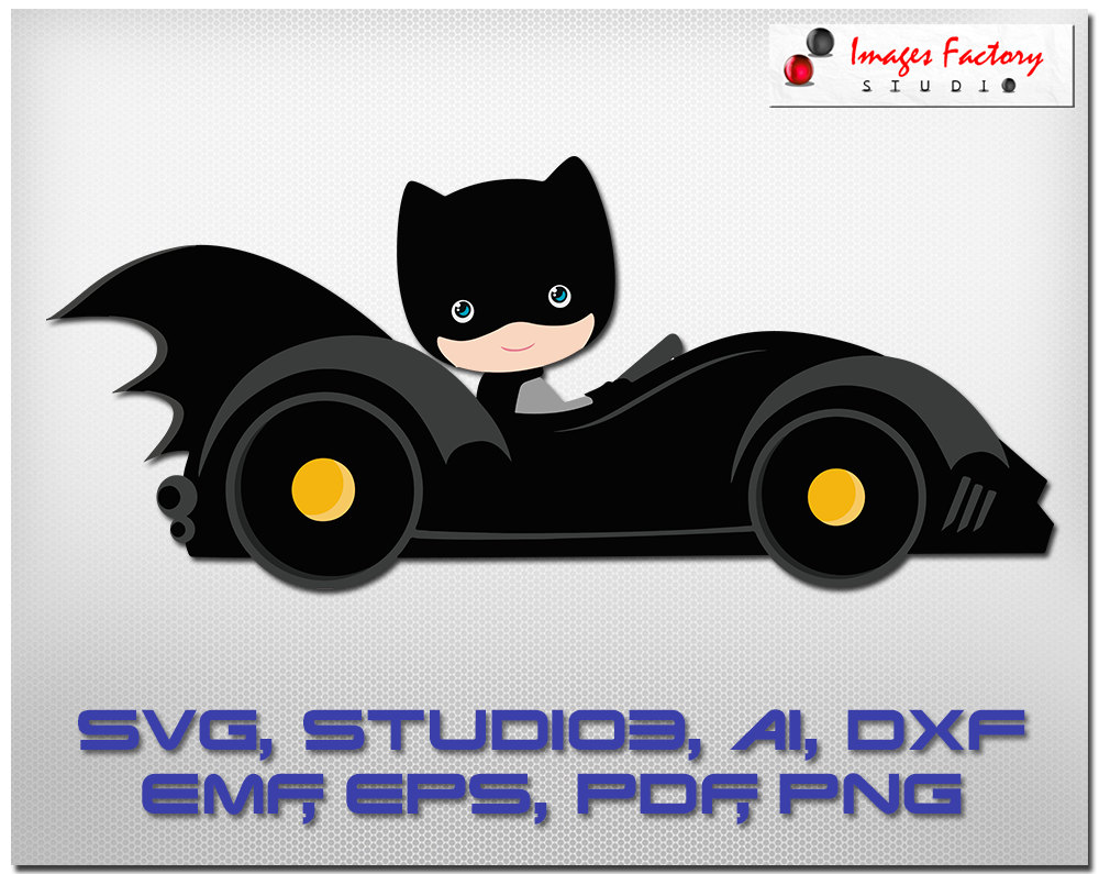 Batmobile cuttable cricut design. Car clipart superhero