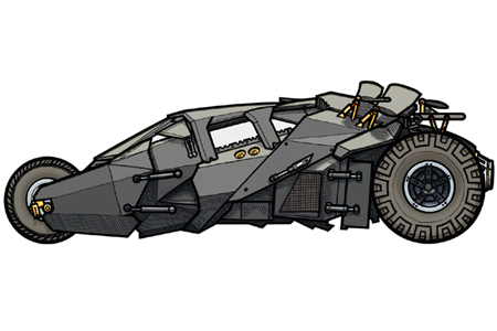 tumbler by illustration. Batman clipart batmobile
