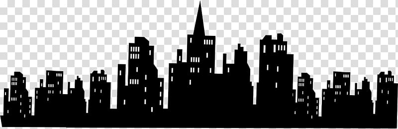 Gotham city skyline silhouette. Batman clipart cityscape