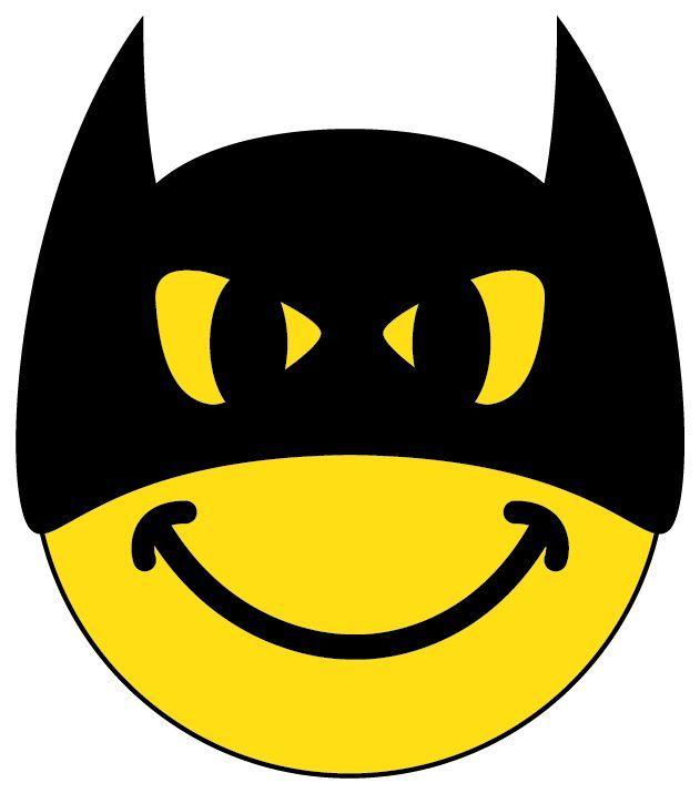 Cute smiley face emoticon. Batman clipart emoji