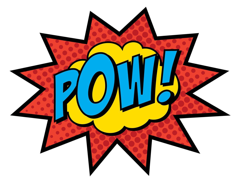 Boom clipart sign. Superhero signs pow zap