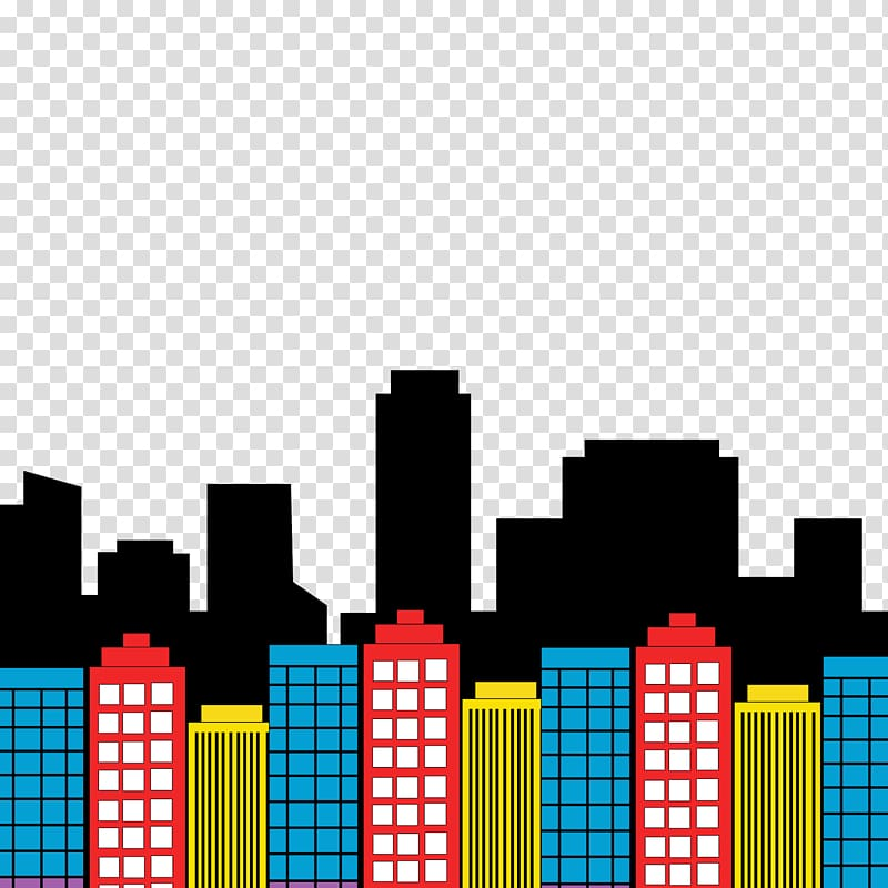 Illustration of multicolored buildings. Superheroes clipart building
