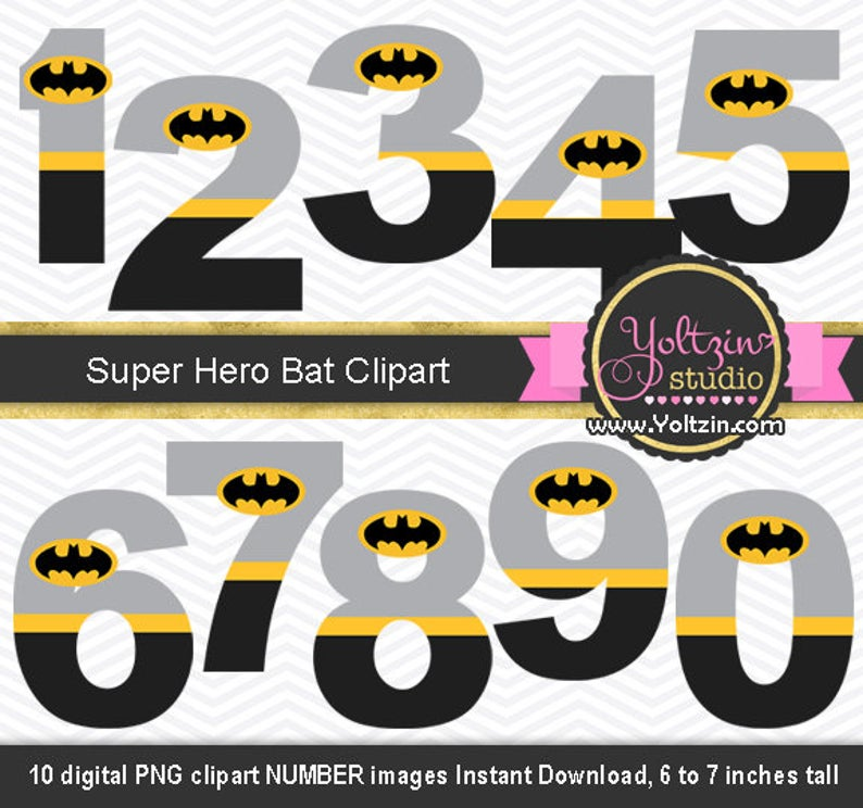 Numbers superheroes super boy. Batman clipart superhero