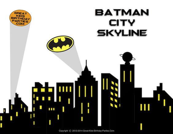 Batman clipart superhero. Free printables skyline