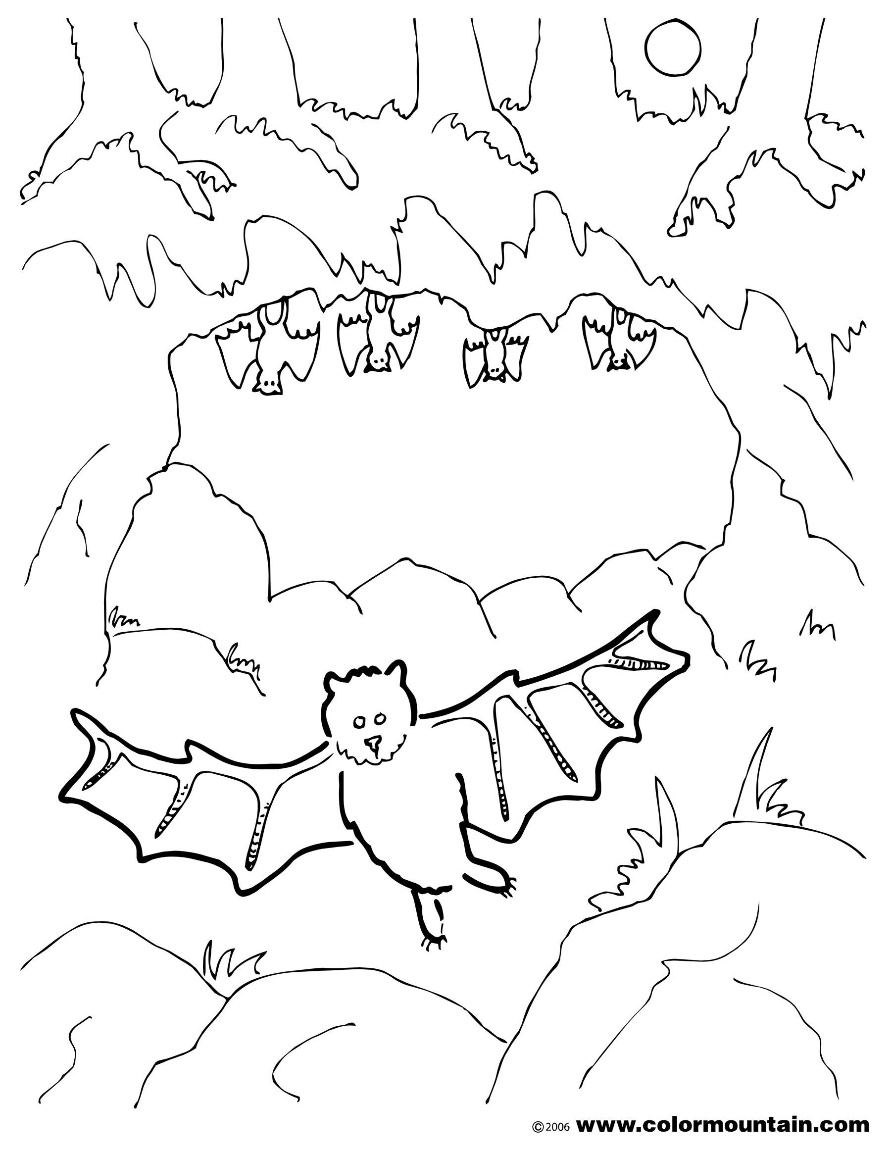 Bat pages preschool best. Cave clipart coloring page