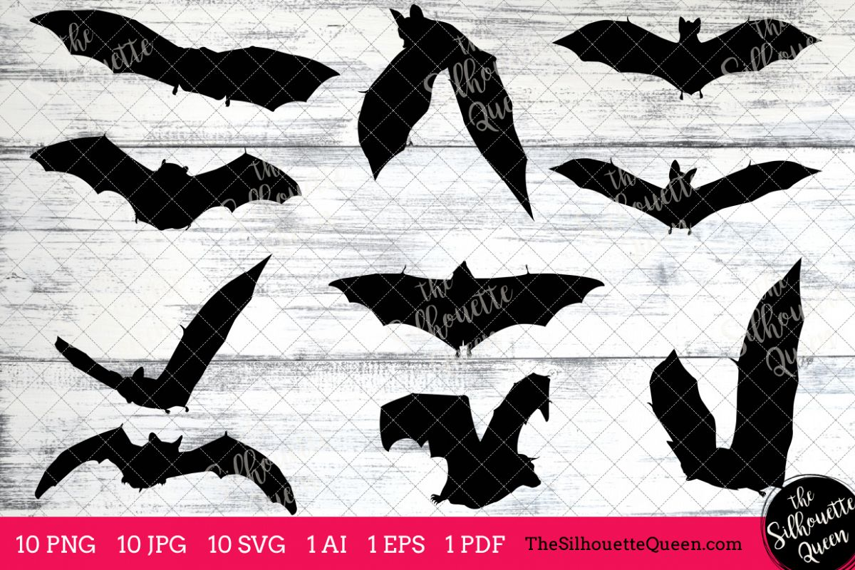 Vampire bat silhouette clip. Bats clipart five