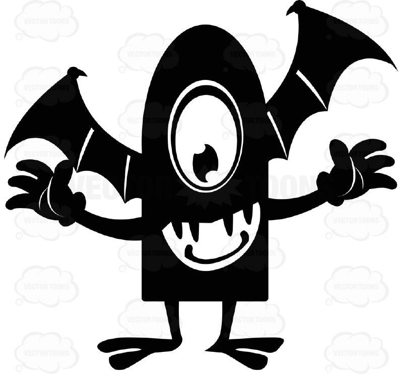 One eyed black ink. Bats clipart friendly