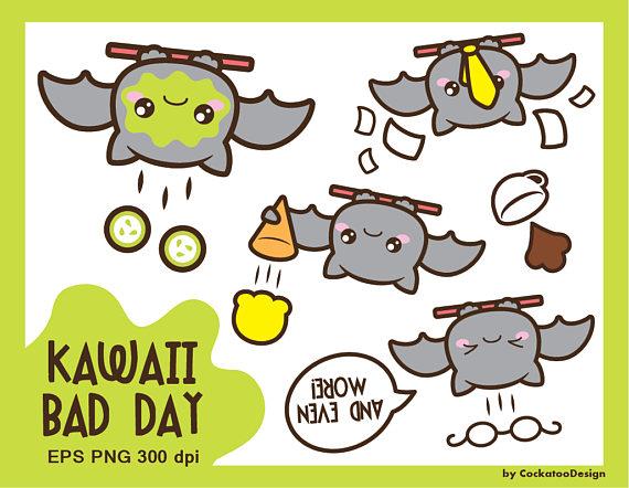 Bad clipart sad. Bat kawaii clip art